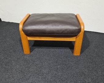 Vintage Danish design teak and leather foor stool or Ottoman
