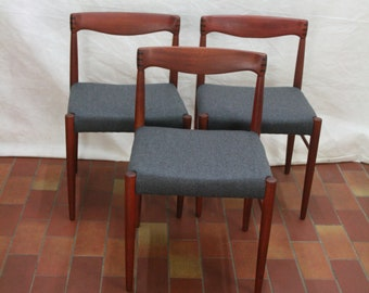Three vintage Danish teak dinning chairs by Bramin