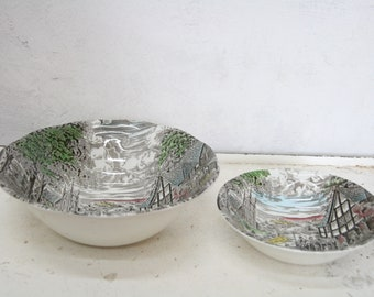 Wedgwood Dickens coaching days set of two bowl
