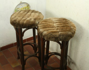 Two vintage bent wood bar stools