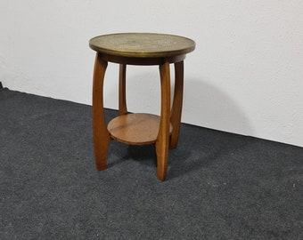 Vintage oak and brass side table
