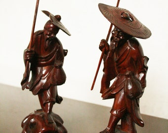 Pair of 60s Chinese fisherman figures nice teeth