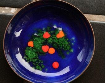 Midcentury Modern vintage copper enamel bowl or trinket dish