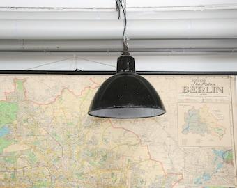 Vintage enamel pendant light