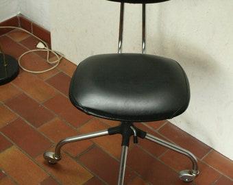 vintage industrial black skai  buro stool