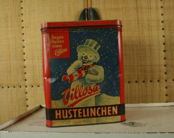 "Vintage tin advertising box ,""villosa hustelinchen cough sweets "" ."
