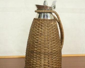 Vintage chrome and wicker thermos can by Alfi  Germany