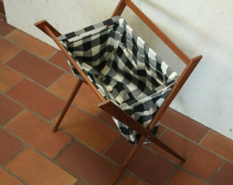 Folding danish teak wool basket