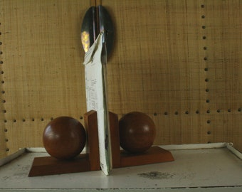 A pair of vintage wooden bookends