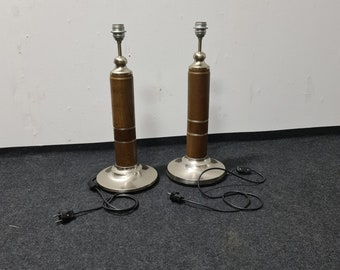 A pair of vintage oak and chrome table lights