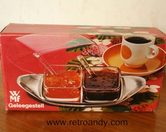 Vintage preserves dishes designed by Wilhelm Wagenfeld for WMF