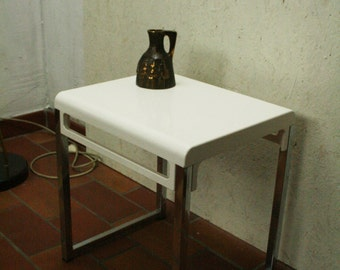 70s metal and white plastic side table