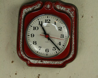 Bright and chearfull West german pottery wall clock