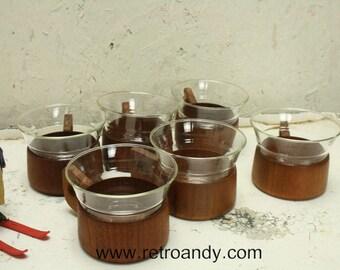 6 vintage MCM teak based tea cups