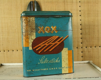 Vintage printed tin box XOX salt sticks