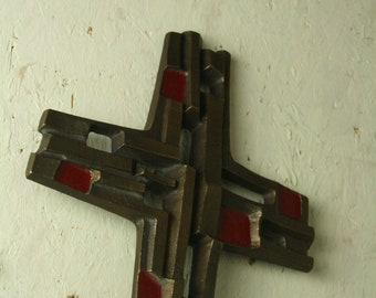 Vintage Brass Brutalist cross