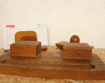 Oak Bauhaus style writing desk set