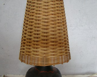 Vintage ceramic and wicker table or side light