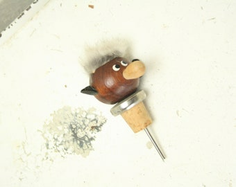 Vintage teak bottle stopper