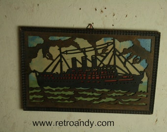 Vintage wall mounted Fretwork steam ship