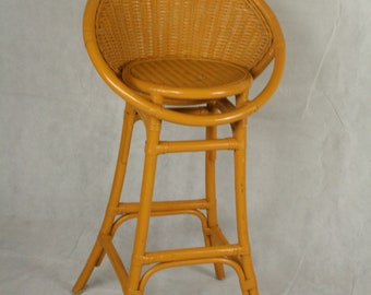 vintage yellow wicker bar chair