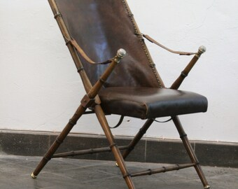 Vintage Faux bamboe and leather folding chair