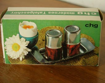 Vintage stainless steel and teak Salt & pepper tray by CHG