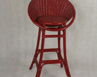 vintage red wicker bar chair