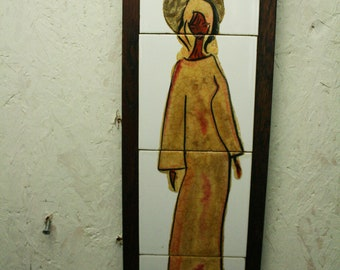 Vintage painted tiles in teak frame