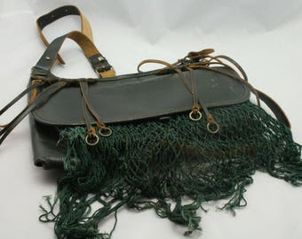 Vintage leather hunting cartridge shoulder bag