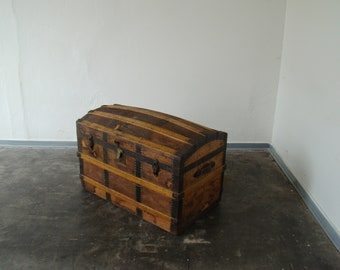 vintage portmanteau or treasure chest ..
