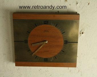Vintage Diehl ato mat teak vernier wall clock