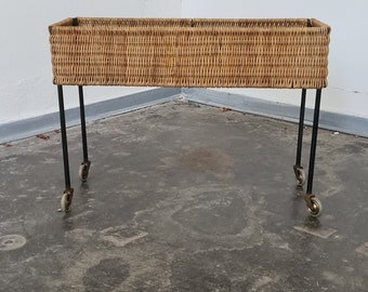 Vintage 50s wicker and metal planter trolley