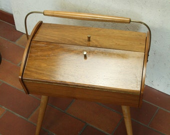 vintage teak sewing box or basket