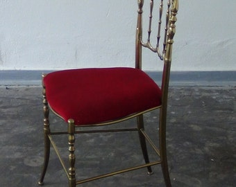 Vintage Hollywood regency style brass  Chiavari chair