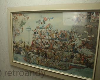 "Rare Rogier Mekel Print called the  ""Harbour Cruise"" ."
