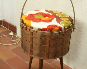 vintage 70s sewing basket