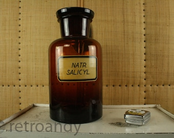 Original old vintage apothecary / pharmacy brown glassed and lidded bottle or jar - NATR SALICYL
