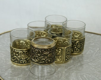 six mid century shot glasses