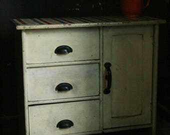 Brocante hall cupboard or nightstand