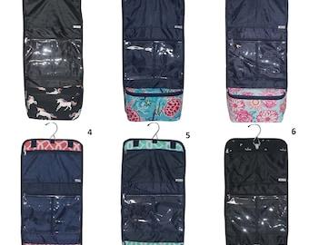 Monogrammed TRI FOLD Cosmetic Bag; smiley, turtle, arrow