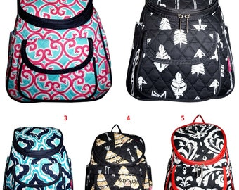 Monogrammed quilted backpack