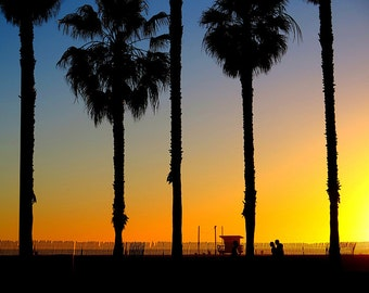 Sunset in Santa Monica, California, Beach Sand Sun Ocean Lifeguard Station People Walking Palm Trees Fine Art Photograph Print Photography