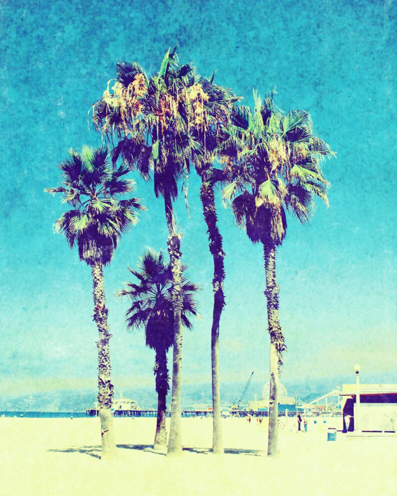 Palm Trees Santa Monica Beach, California Sunshine Sun Ocean Vintage Grunge  Fine Art Photograph Print Photography
