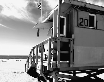 Santa Monica Beach, California, Los Angeles, Lifeguard Station, Sand, Ocean Fine Art Photograph Print Photography Black and White