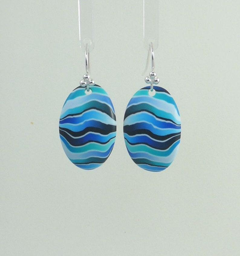 Blue earrings Blue polymer clay earrings Oval earrings image 0