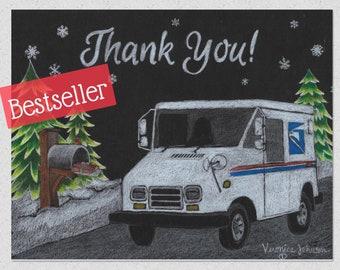 LLV Letter Carrier Thank You Post Cards, postal postcards, Mail Carrier ©