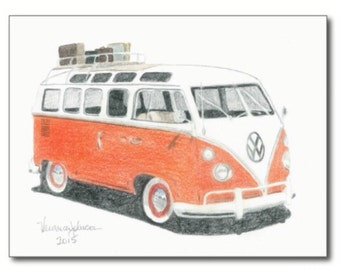 1965 VW Bus, note card or print