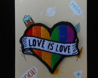 "Rainbow ""Love is Love"" sew-on/ glue on patch made with superior Peruvian cotton"