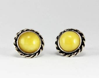 Antique butter amber earrings studs round shape Amber stud earrings set on 925e sterling silver great quality Amber jewelry